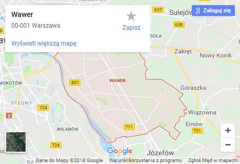 Mapa Google hydraulik Warszawa Wawer